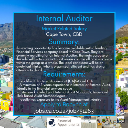 New Permanent Job Opportunity for a Internal Auditor in Cape