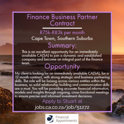 Finance Business Partner job 51272 - Cape Town, Southern Suburbs - CA Financial Appointments