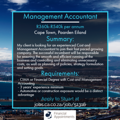 Management Accountant job 51316 - Cape Town, Paarden Eiland - CA Financial Appointments