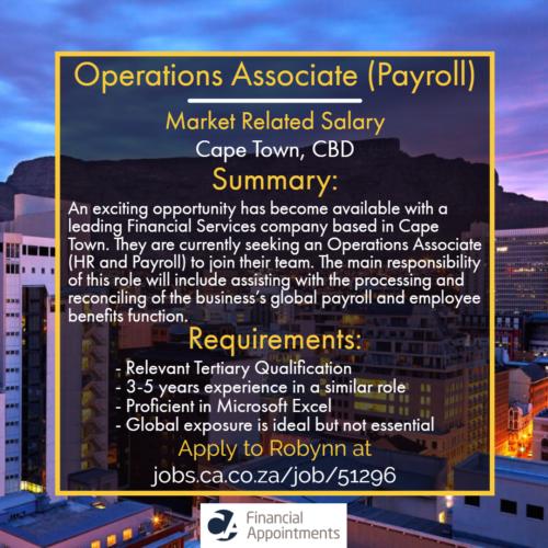 Operations Associate (Payroll) job 51296 - Cape Town, CBD - CA Financial Appointments