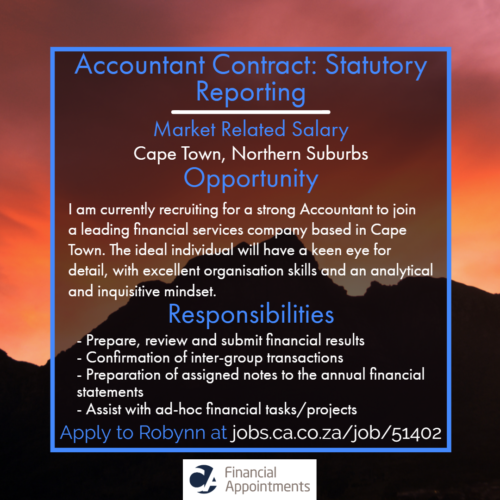 Accountant Contract_ Statutory Reporting Job 51402 - Cape Town, Northern Suburbs - CA Financial Appointments