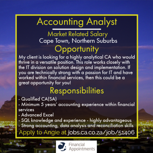 Accounting Analyst Job 51406 - Cape Town, Northern Suburbs - CA Financial Appointments