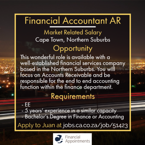 Financial Accountant AR Job 51423 - Cape Town, Northern Suburbs - CA Financial Appointments