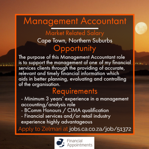 Management Accountant Job 51372 - Cape Town, Northern Suburbs - CA Financial Appointments