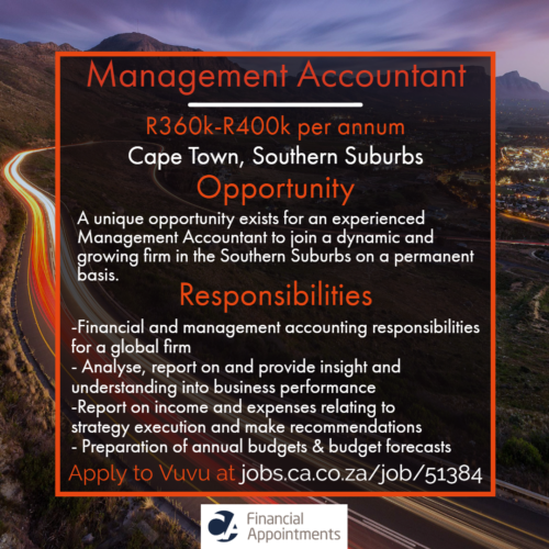 Management Accountant Job 51384 - Cape Town, Southern Suburbs - CA Financial Appointments
