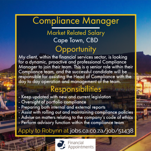 Compliance Manager Job 51438 - Cape Town, CBD - CA Financial Appointments