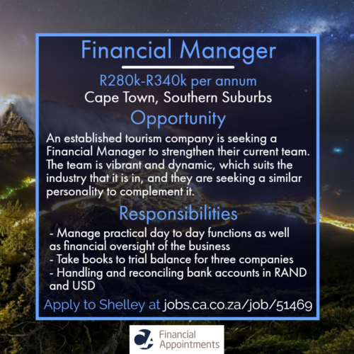 Financial Manager Job 51469 - Cape Town, Southern Suburbs - CA Financial Appointments
