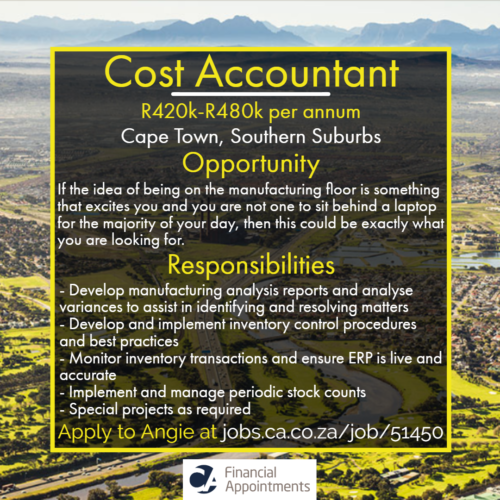 Cost Accountant Job 51450 - Cape Town, Southern Suburbs - CA Financial Appointments