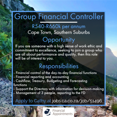 Group Financial Controller Job 51496 - Cape Town, Southern Suburbs - CA Financial Appointments