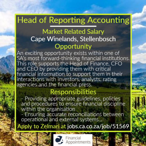 Head of Reporting Accounting - Cape Winelands, Stellenbosch - CA Financial Appointments