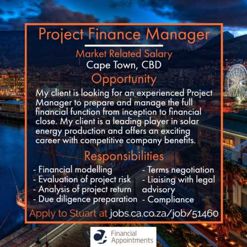 Project Finance Manager Job 51460 - Cape Town, CBD - CA Financial Appointments