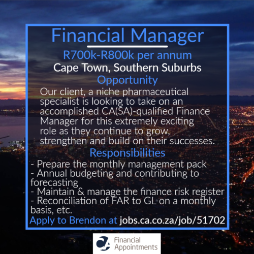 Finance Manager Job 51702 - Cape Town, Southern Suburbs - CA Financial Appointments